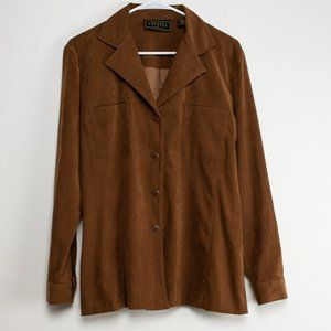 90s Vintage Express Faux Suede Shirt- Brown